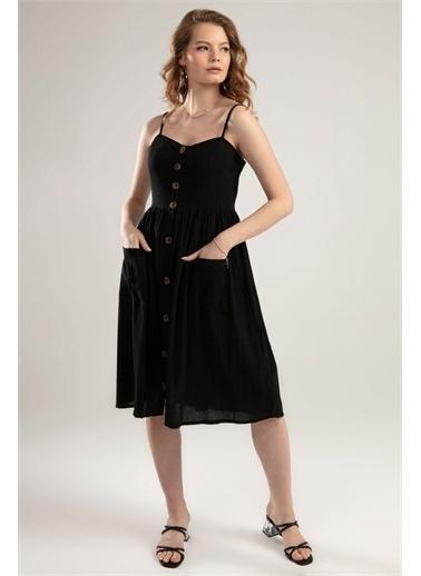 Pattaya Pattaya Kadın Ayarlanabilir Askılı Cepli Elbise Y20S102-6044 Siyah